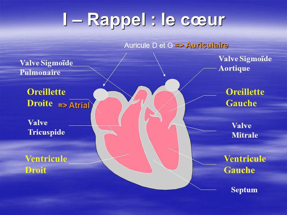 I – Rappel : le cœur Oreillette Droite Oreillette Gauche Ventricule