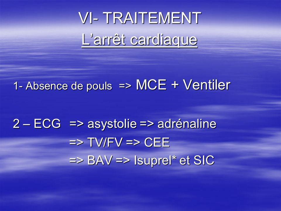 VI- TRAITEMENT L'arrêt cardiaque