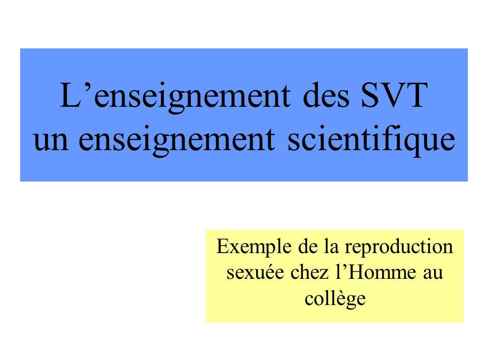 L'enseignement des SVT un enseignement scientifique