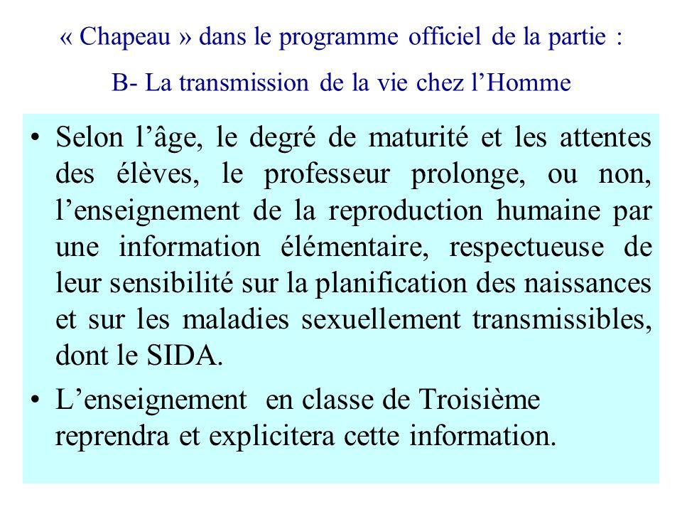 « Chapeau » dans le programme officiel de la partie : B- La transmission de la vie chez l'Homme