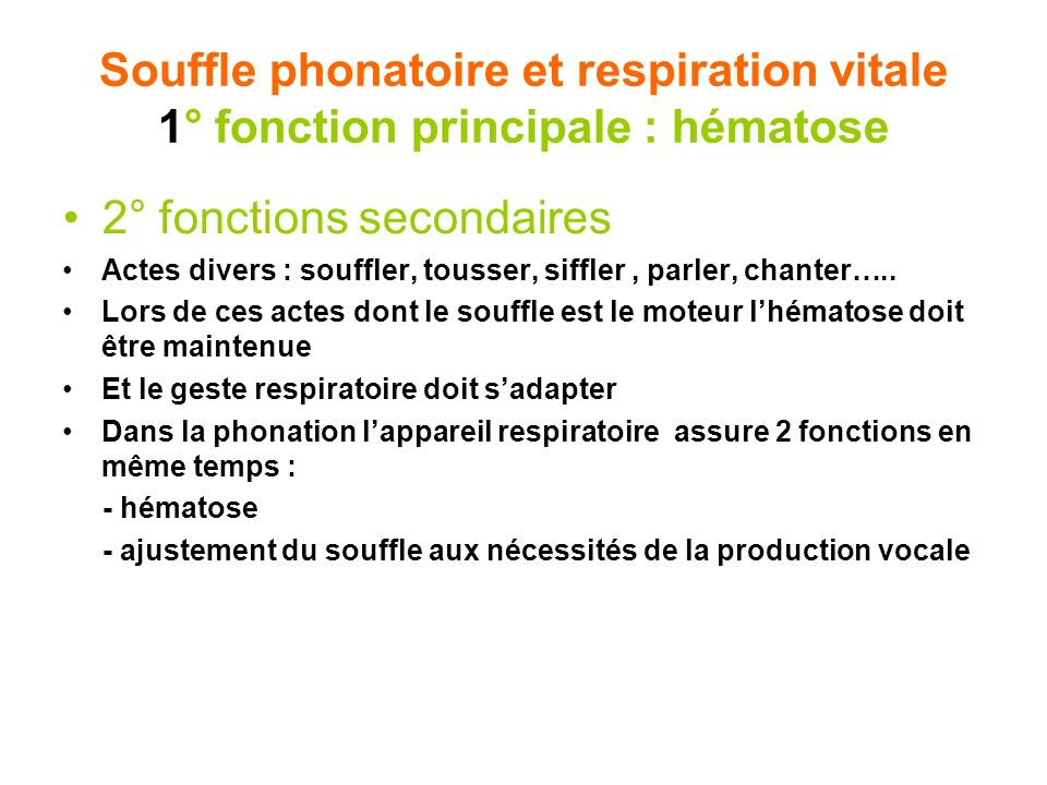 2° fonctions secondaires