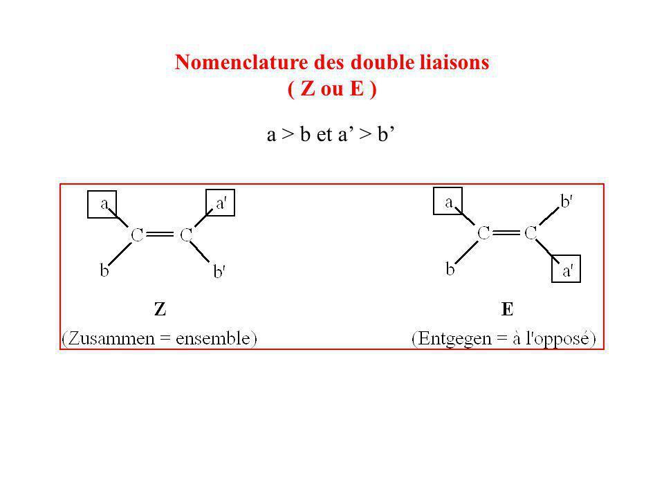 Nomenclature des double liaisons