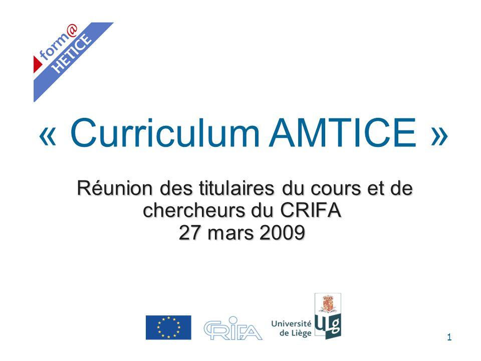 Réunion des titulaires du cours et de chercheurs du CRIFA 27 mars 2009