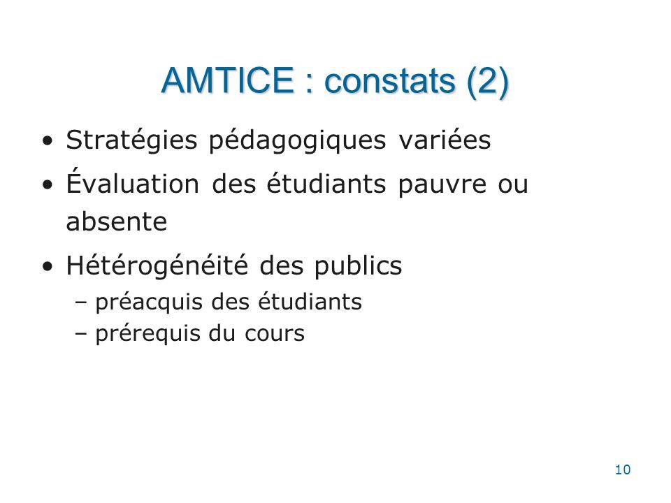 AMTICE : constats (2) Stratégies pédagogiques variées