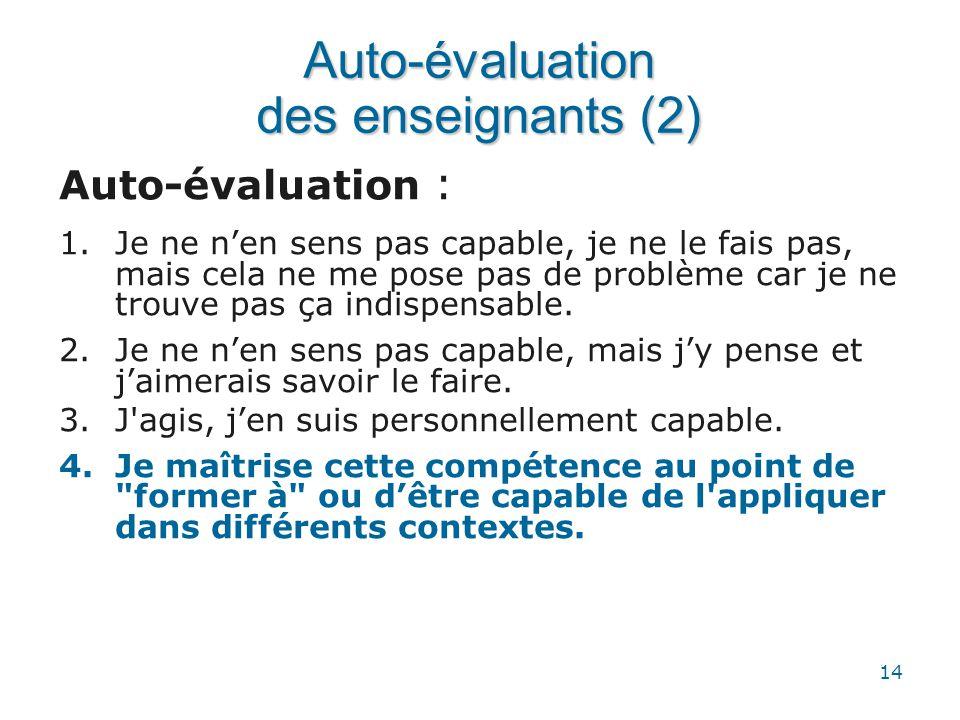 Auto-évaluation des enseignants (2)