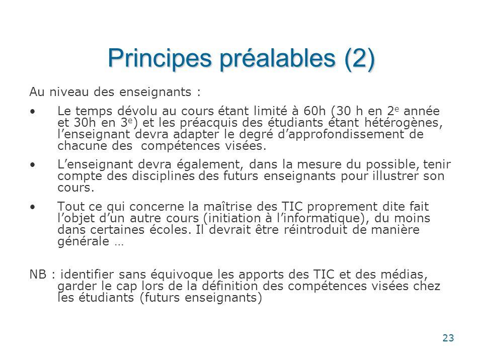 Principes préalables (2)