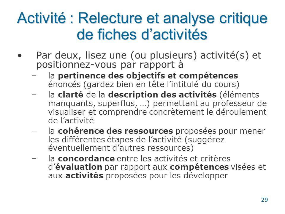 Activité : Relecture et analyse critique de fiches d'activités