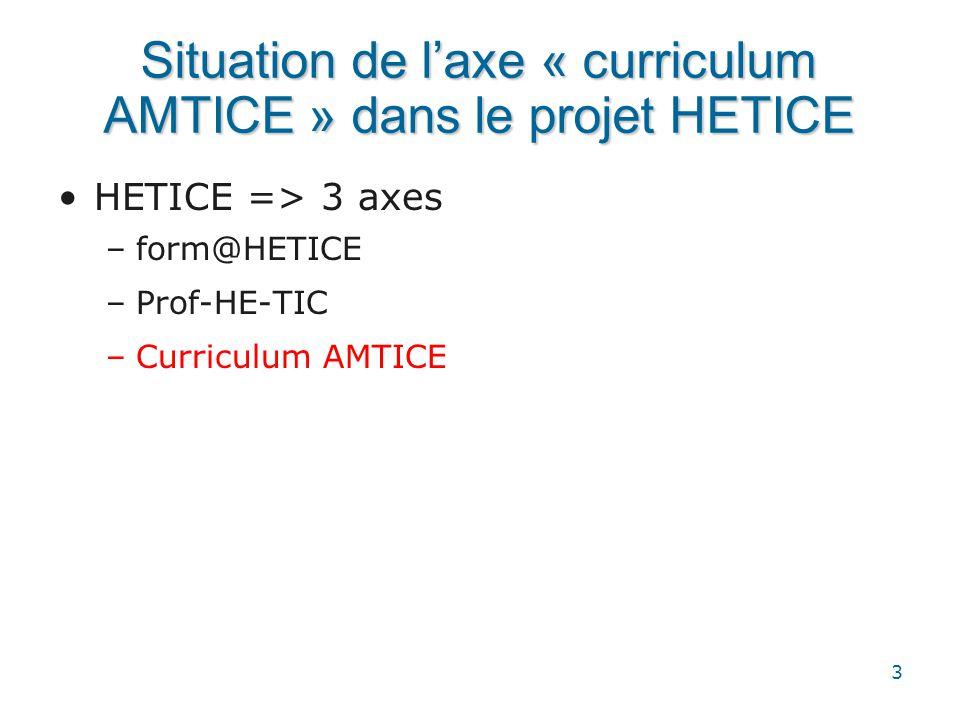 Situation de l'axe « curriculum AMTICE » dans le projet HETICE