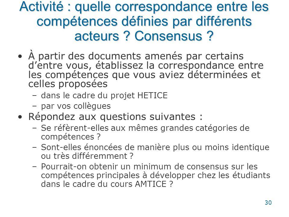 Activité : quelle correspondance entre les compétences définies par différents acteurs Consensus