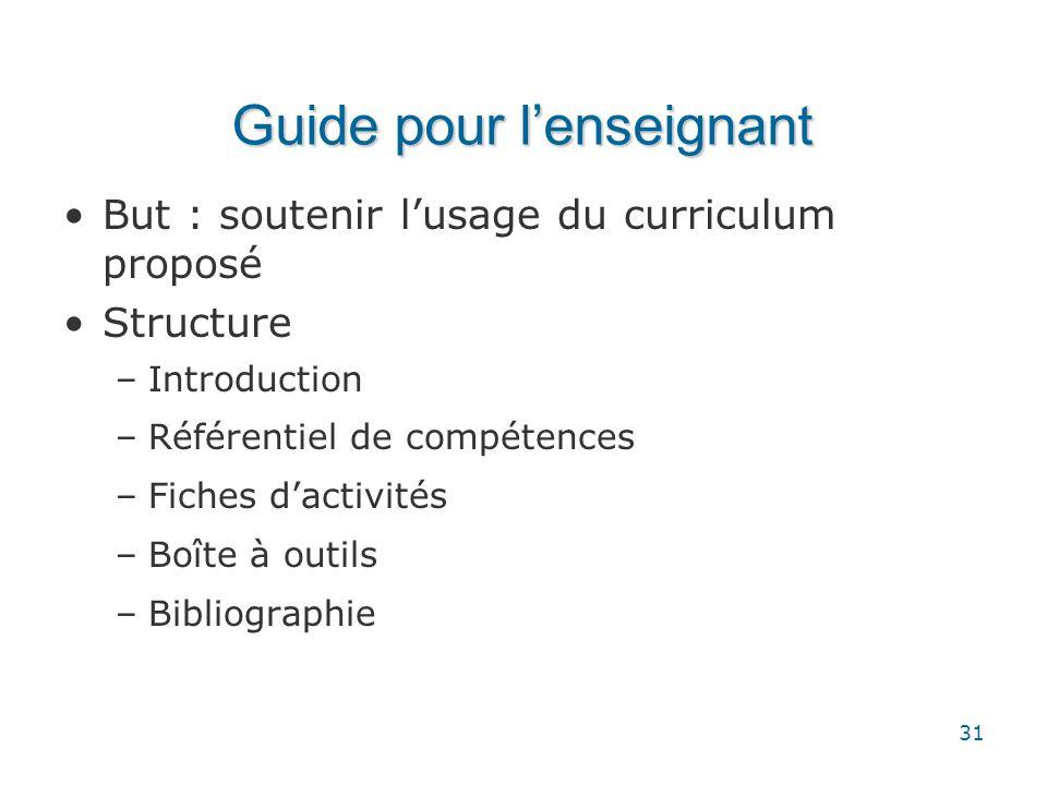 Guide pour l'enseignant