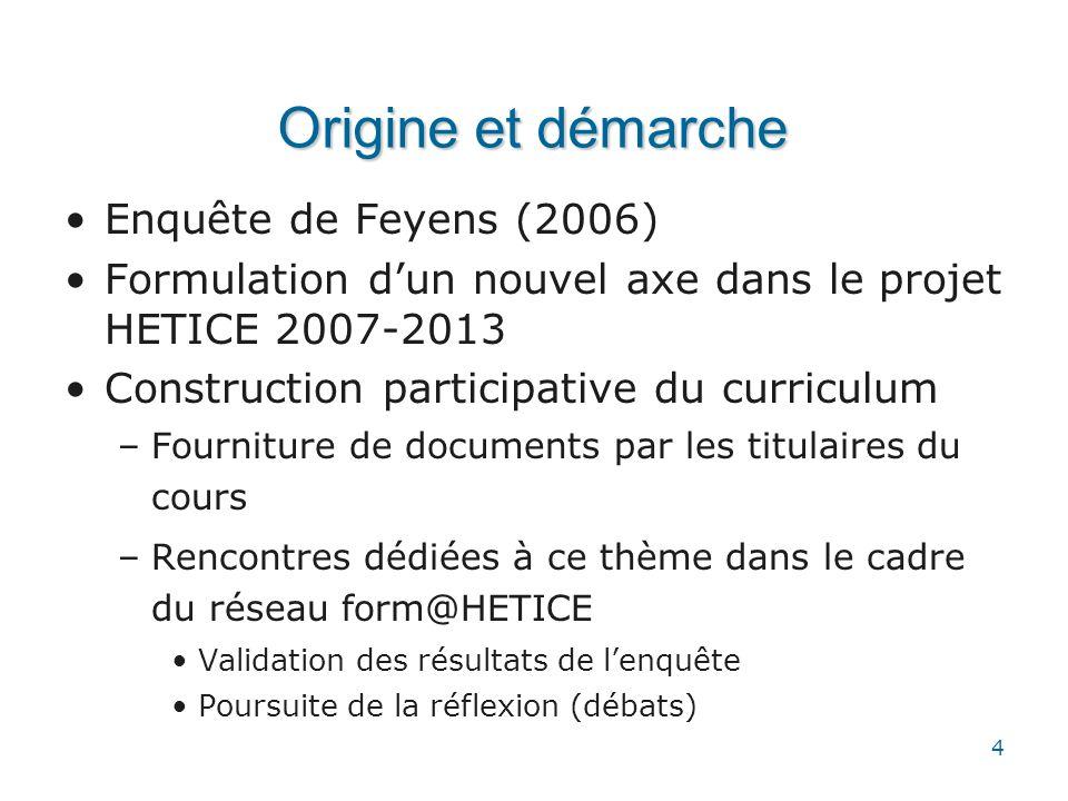 Origine et démarche Enquête de Feyens (2006)