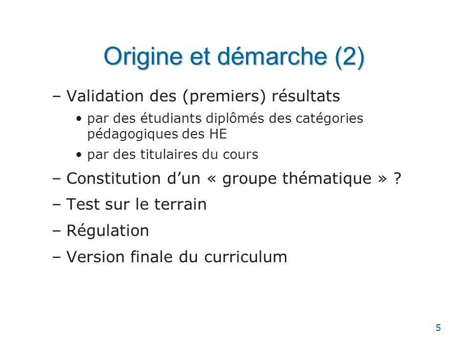 Origine et démarche (2) Validation des (premiers) résultats