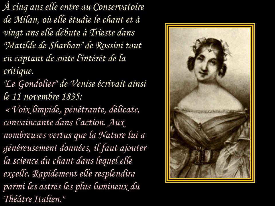À cinq ans elle entre au Conservatoire de Milan, où elle étudie le chant et à vingt ans elle débute à Trieste dans Matilde de Sharban de Rossini tout en captant de suite l intérêt de la critique.