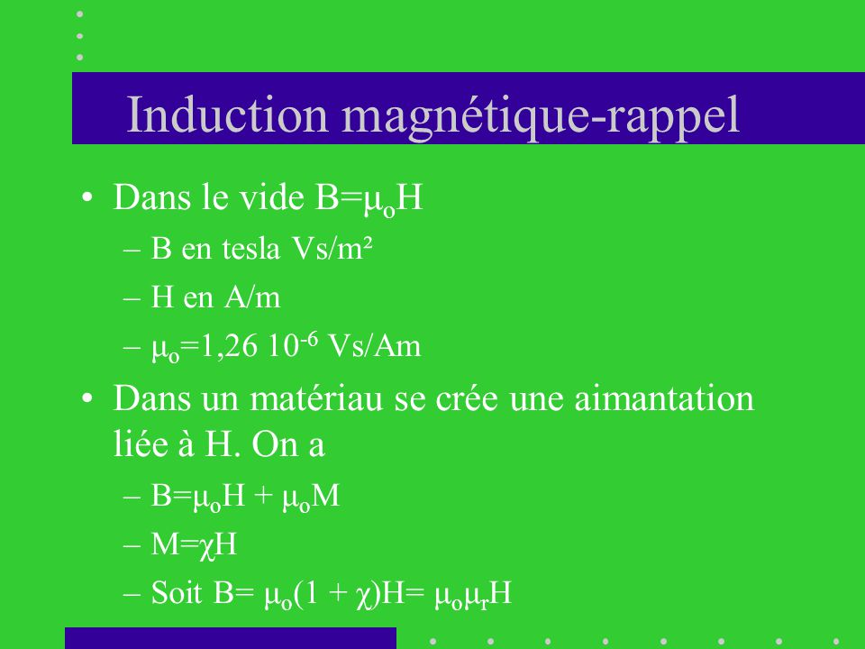 Induction magnétique-rappel