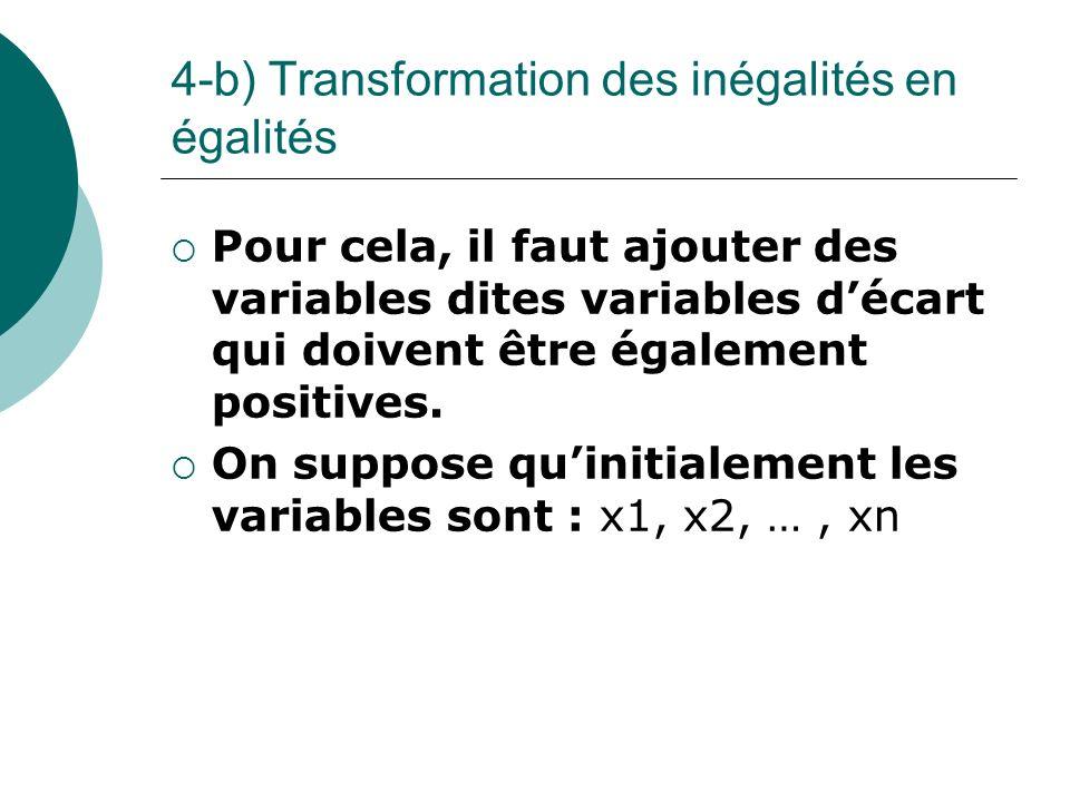 4-b) Transformation des inégalités en égalités