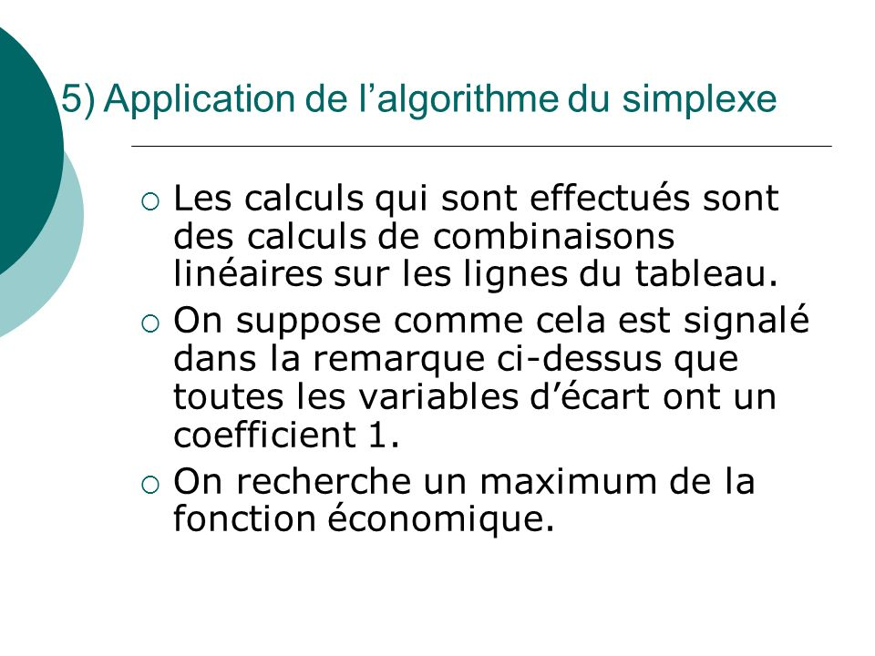 5) Application de l'algorithme du simplexe