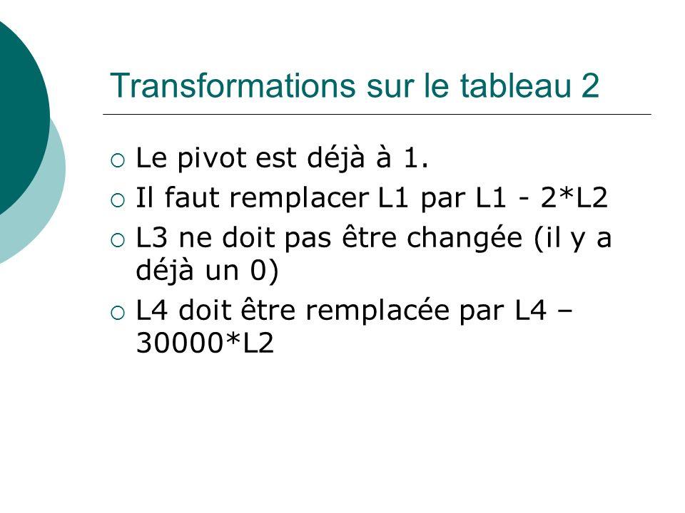 Transformations sur le tableau 2