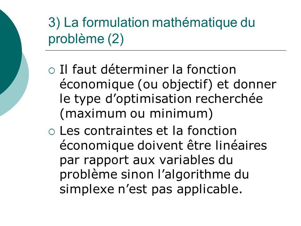 3) La formulation mathématique du problème (2)
