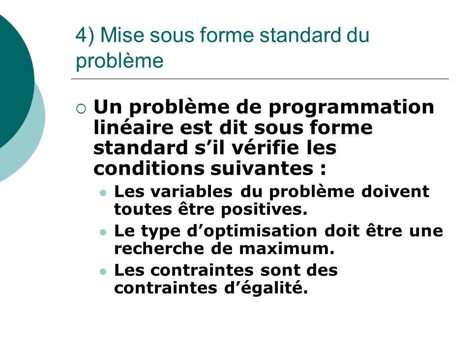4) Mise sous forme standard du problème