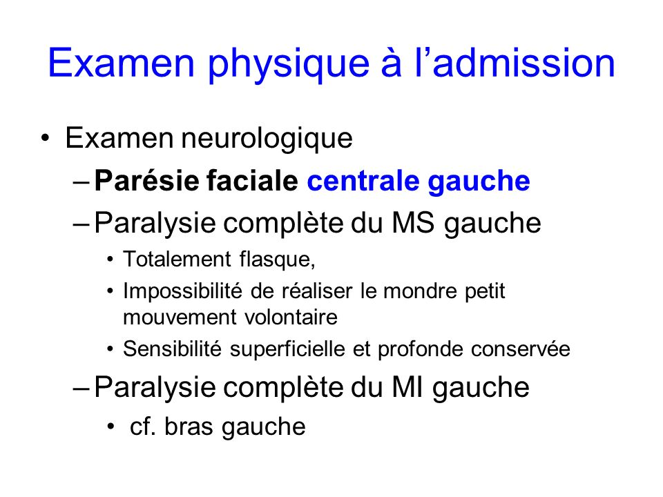 Examen physique à l'admission