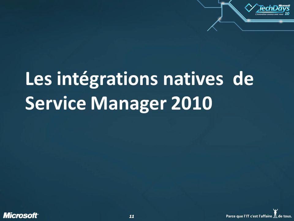 Les intégrations natives de Service Manager 2010