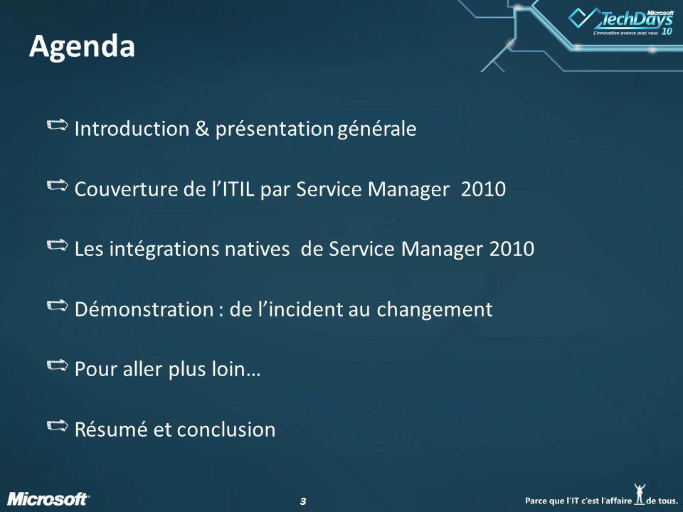 Agenda Introduction & présentation générale