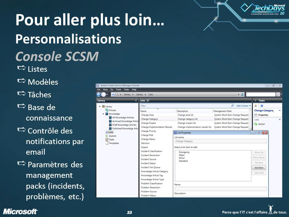 Personnalisations Console SCSM