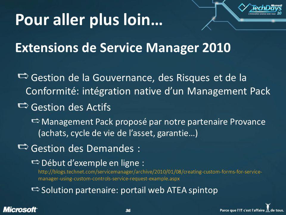 Pour aller plus loin… Extensions de Service Manager 2010