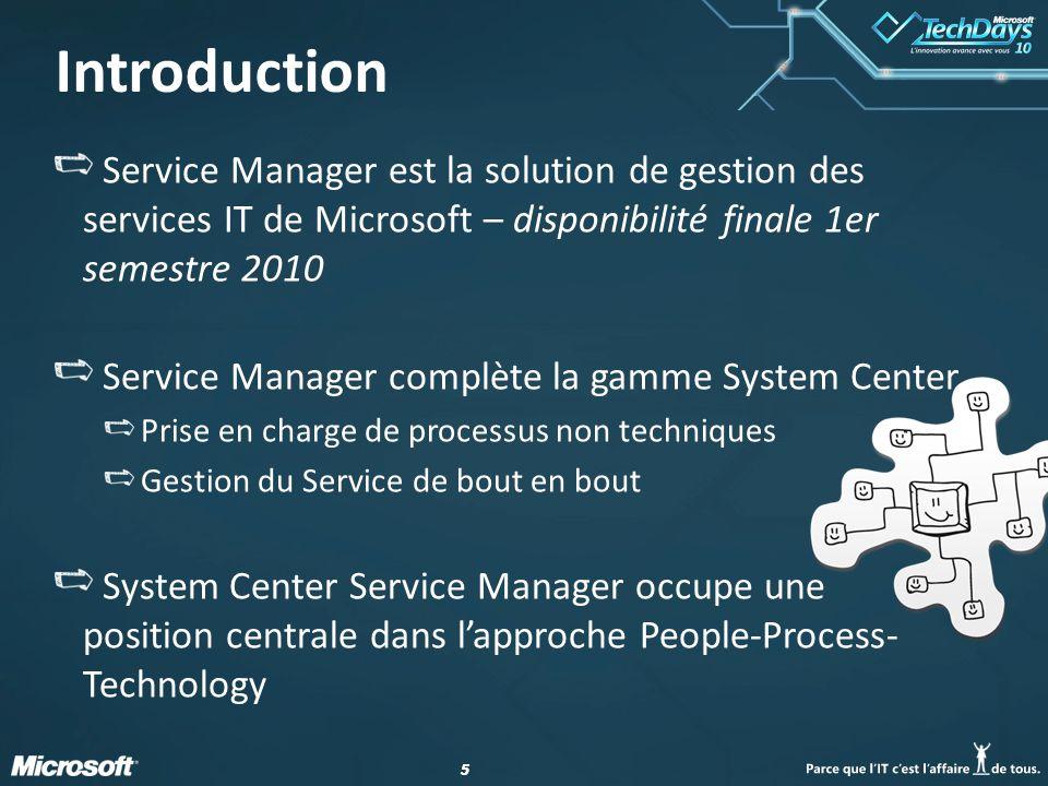 4/2/2017 12:28 PM Introduction. Service Manager est la solution de gestion des services IT de Microsoft – disponibilité finale 1er semestre 2010.