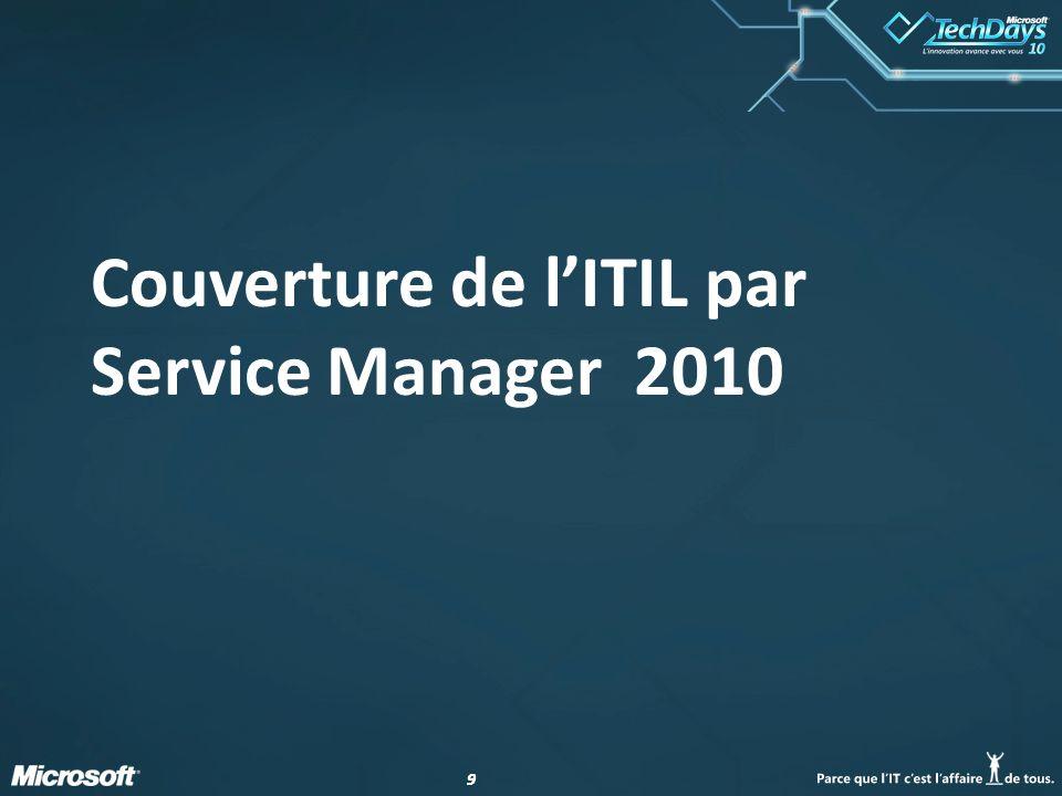 Couverture de l'ITIL par Service Manager 2010