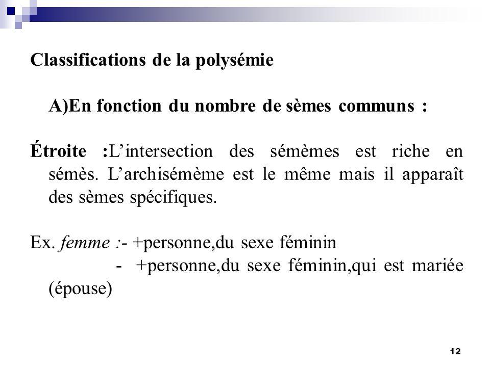 Classifications de la polysémie