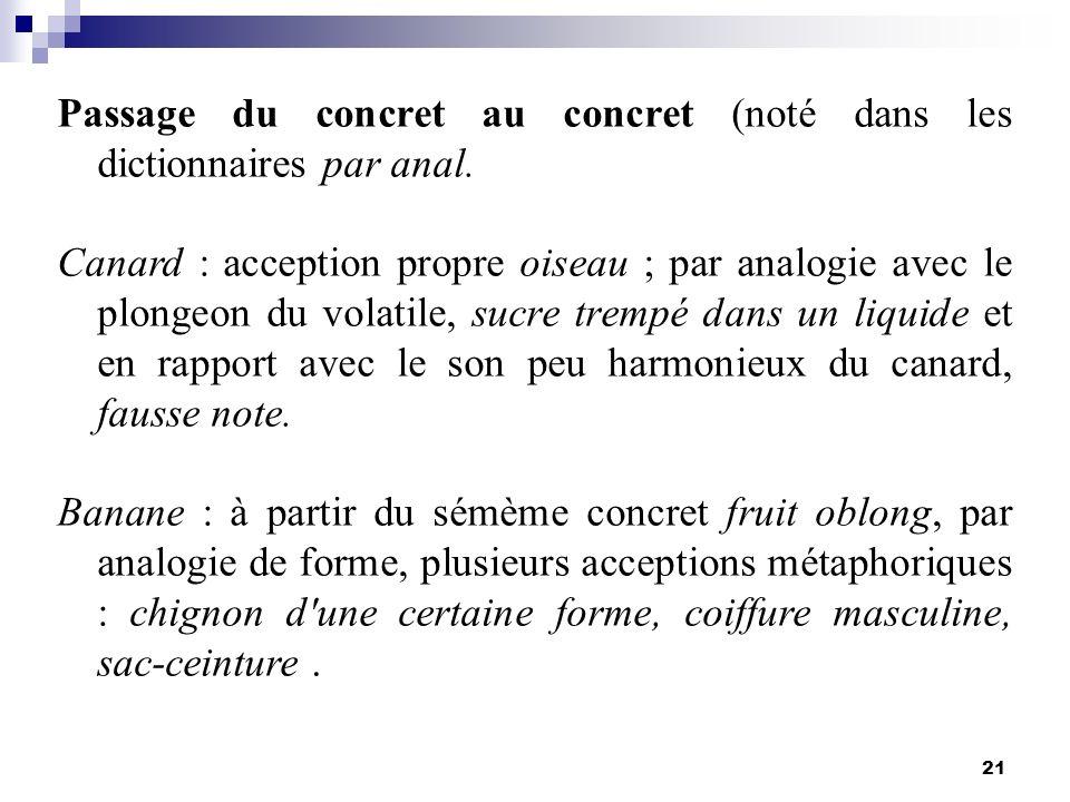 Passage du concret au concret (noté dans les dictionnaires par anal.