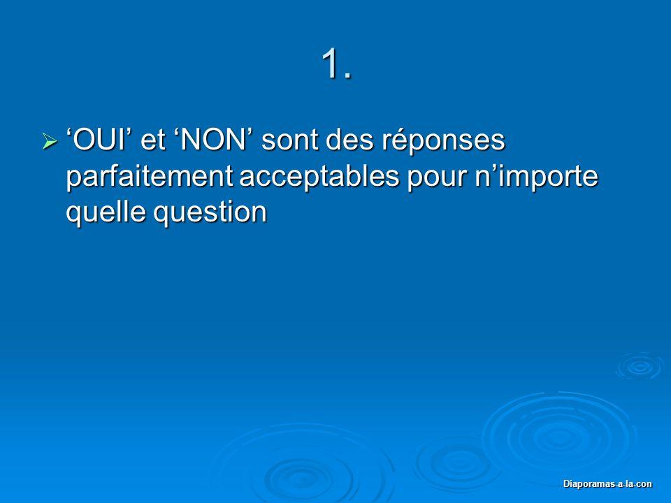1. 'OUI' et 'NON' sont des réponses parfaitement acceptables pour n'importe quelle question.