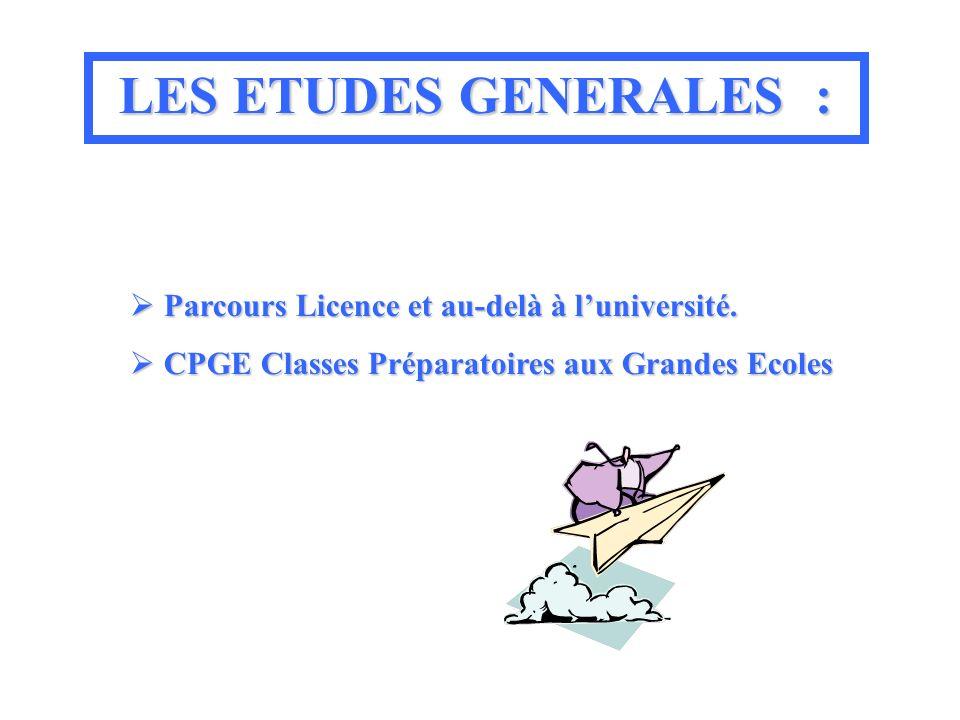 LES ETUDES GENERALES : Parcours Licence et au-delà à l'université.