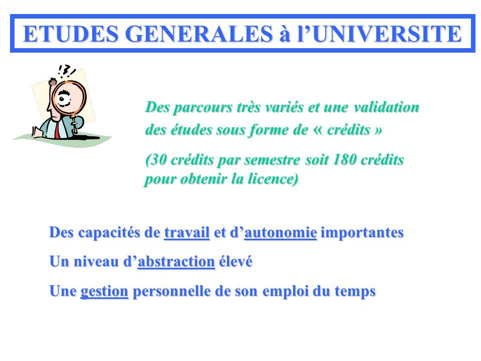 ETUDES GENERALES à l'UNIVERSITE