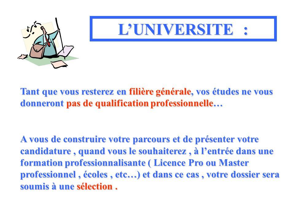 L'UNIVERSITE :Tant que vous resterez en filière générale, vos études ne vous donneront pas de qualification professionnelle…