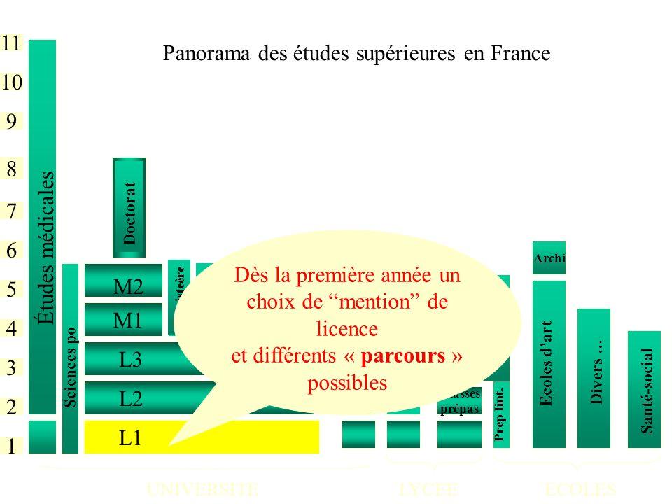 Panorama des études supérieures en France
