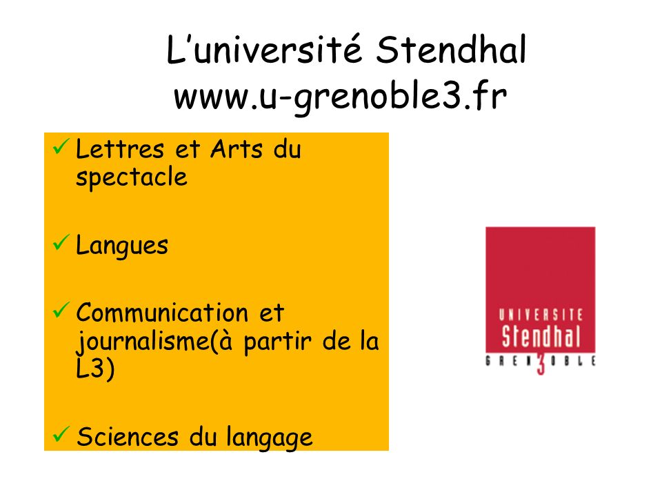 L'université Stendhal www.u-grenoble3.fr