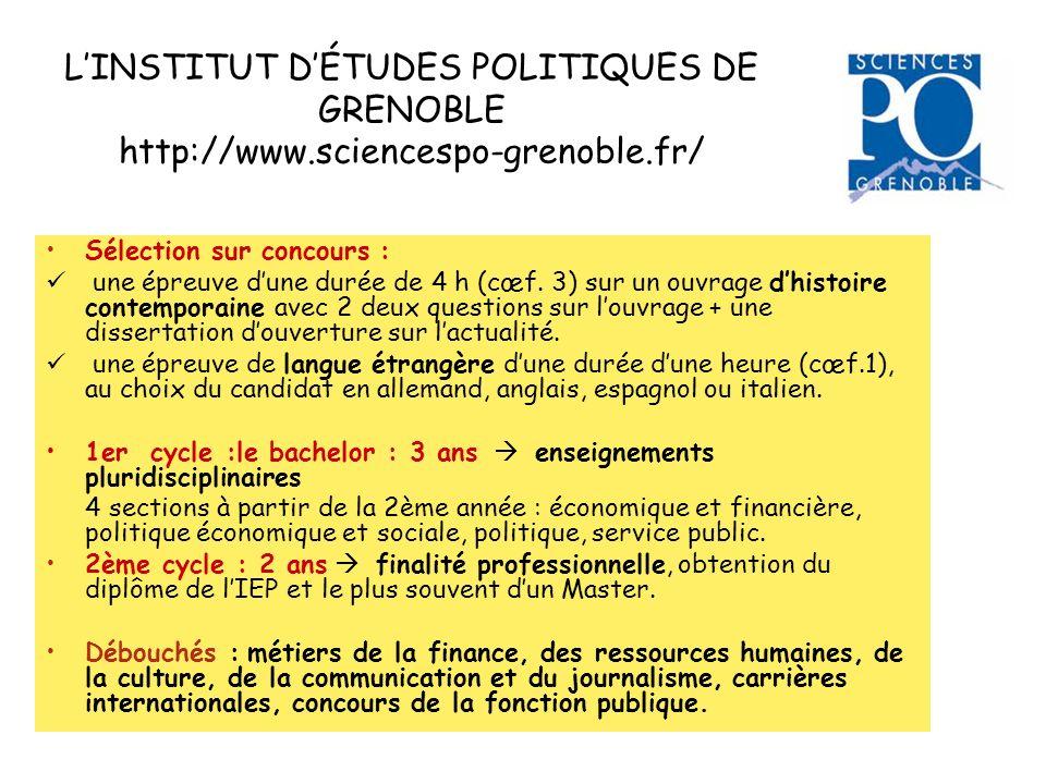 L'INSTITUT D'ÉTUDES POLITIQUES DE GRENOBLE http://www