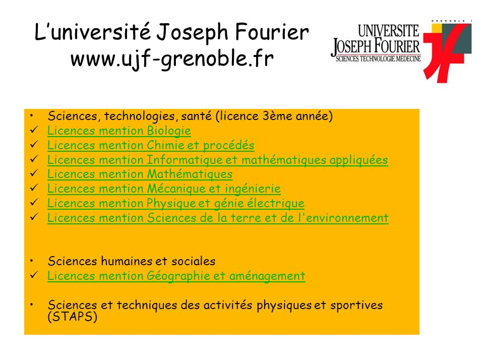 L'université Joseph Fourier www.ujf-grenoble.fr