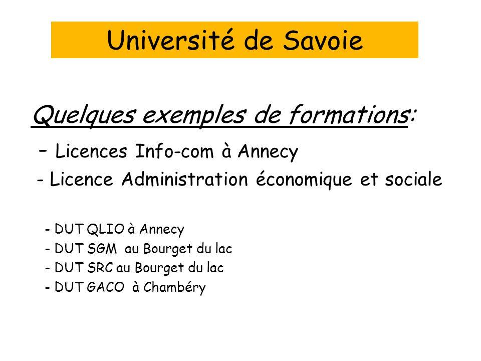 Université de Savoie Quelques exemples de formations: