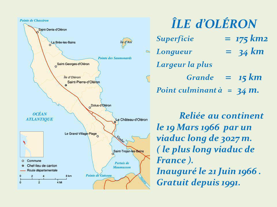 ÎLE d'OLÉRON Superficie = 175 km2 Longueur = 34 km Largeur la plus