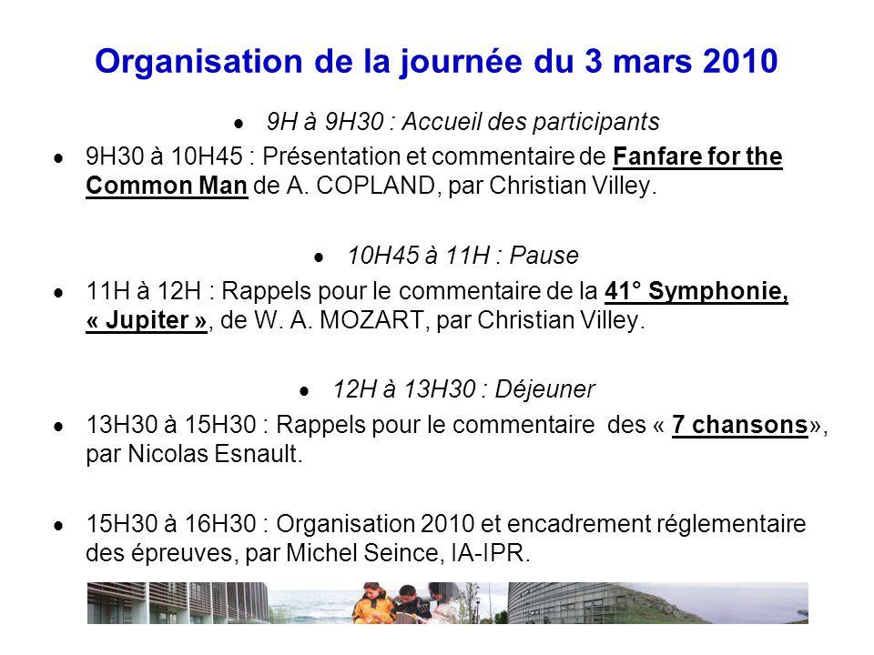 Organisation de la journée du 3 mars 2010