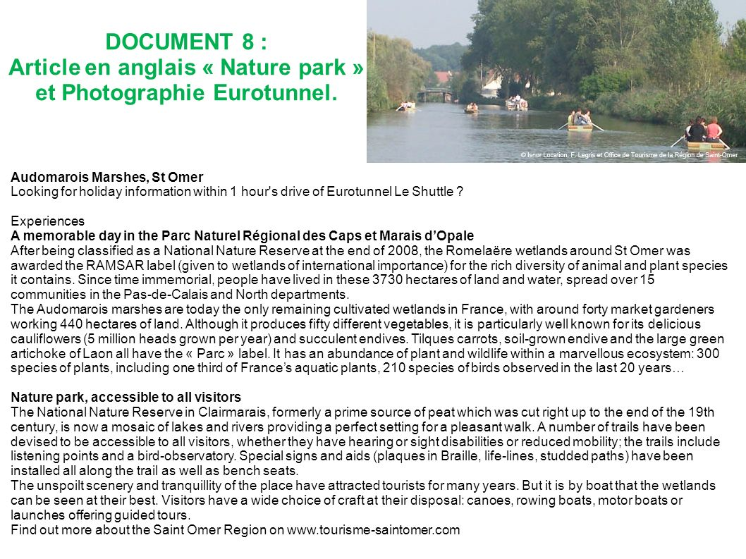 Article en anglais « Nature park » et Photographie Eurotunnel.