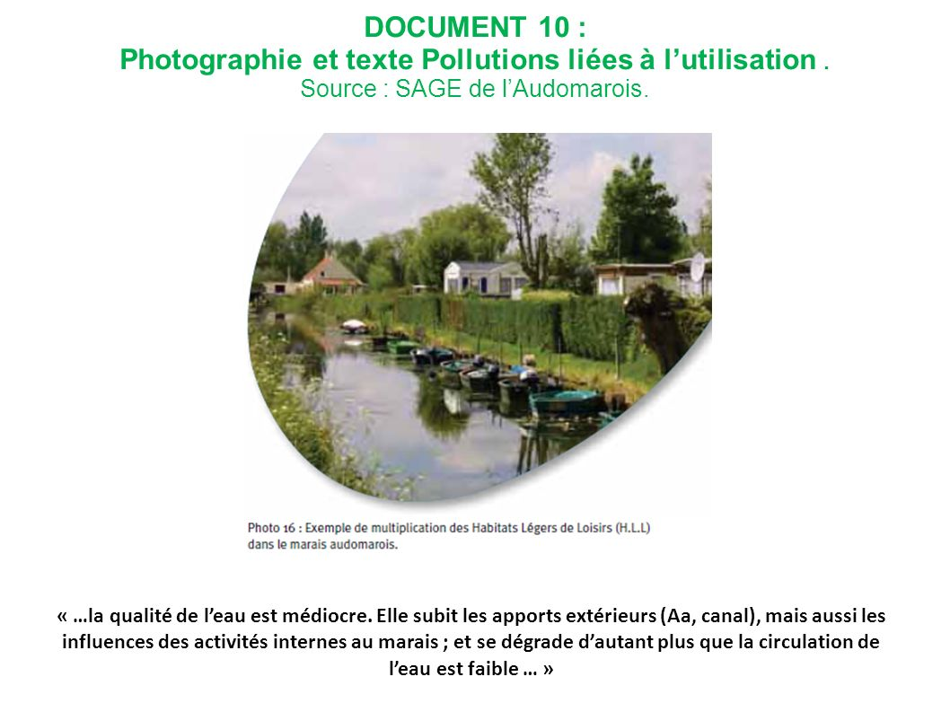 DOCUMENT 10 : Photographie et texte Pollutions liées à l'utilisation . Source : SAGE de l'Audomarois.