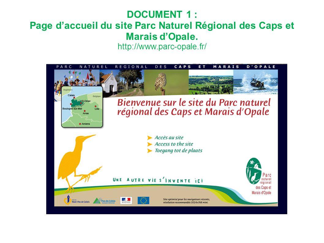 DOCUMENT 1 : Page d'accueil du site Parc Naturel Régional des Caps et Marais d'Opale. http://www.parc-opale.fr/