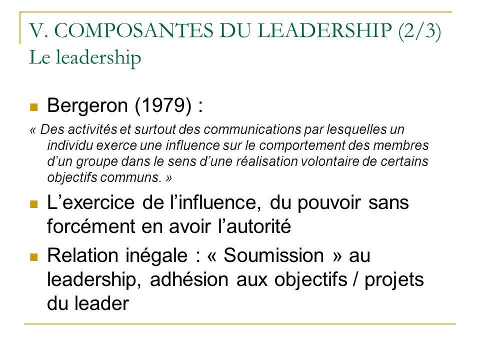 V. COMPOSANTES DU LEADERSHIP (2/3) Le leadership