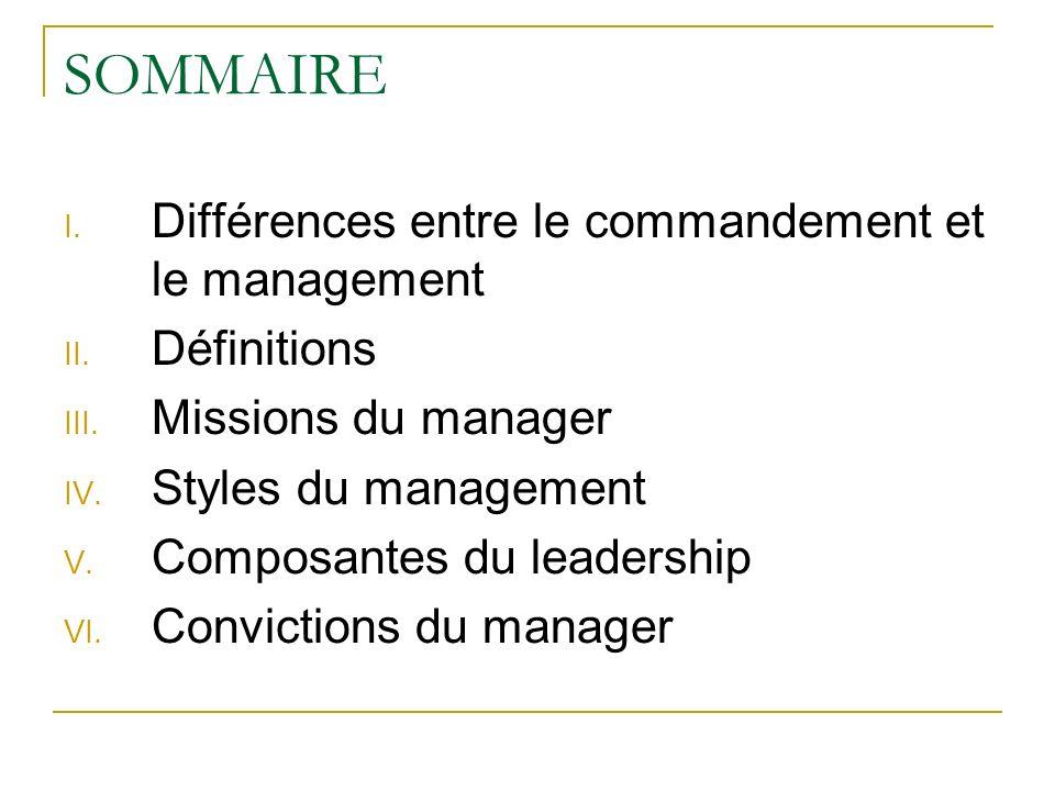 SOMMAIRE Différences entre le commandement et le management