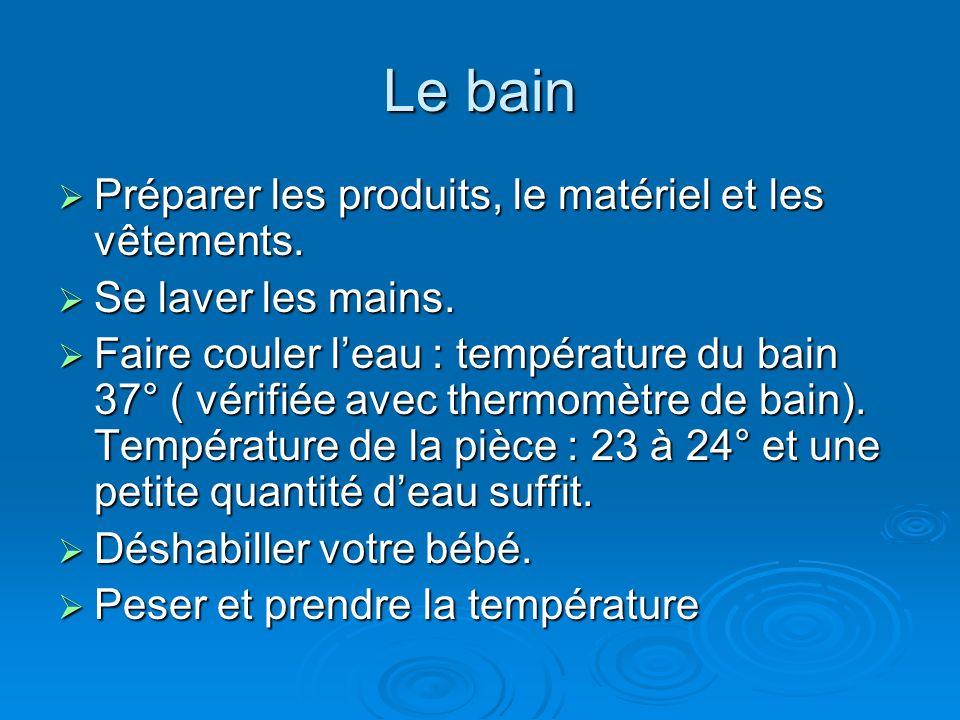 Le bain Préparer les produits, le matériel et les vêtements.