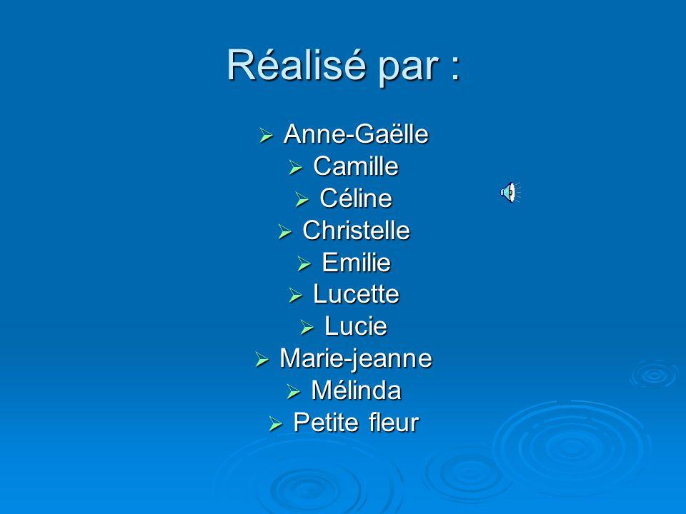 Réalisé par : Anne-Gaëlle Camille Céline Christelle Emilie Lucette